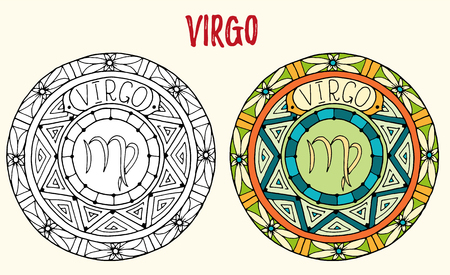 virgo zodiac sign: Zodiac signs theme. Black and white and colored mandalas with virgo zodiac sign. Illustration