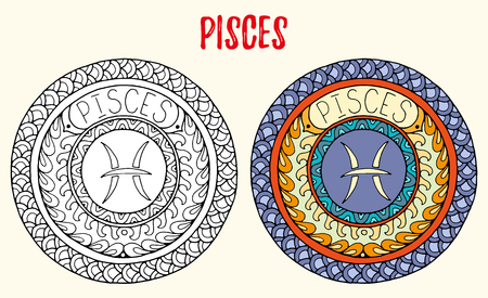 tribal aquarius: Zodiac signs theme. Black and white and colored mandalas with pisces zodiac sign. Illustration