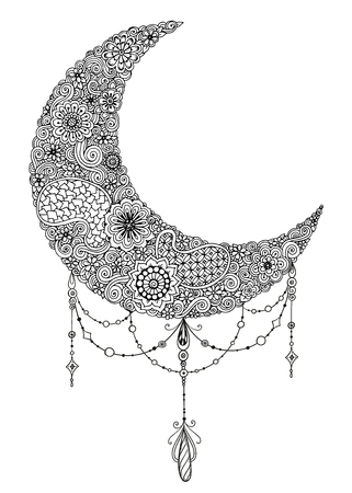 Hand drawn moon with flowers, mandalas and paisley. Black and white floral pattern. Moon card for the holy month of Ramadan. Vector Illustration. Illustration