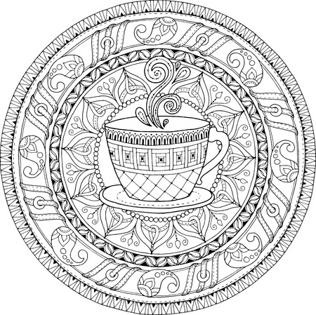 Tea and coffee theme. Circle tribal doodle ornament with cup of coffee. Hand drawn art mandala. Black and white ethnic background.