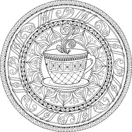 Thee- en koffietema. Circle Tribal doodle ornament met kopje koffie. Handgetekende kunstmandala. Zwart-witte etnische achtergrond. Stock Illustratie