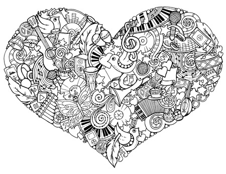 valentine musical note: Music theme. Hand drawn music heart. Doodle heart with musical instruments. Made by trace from personal sketch.