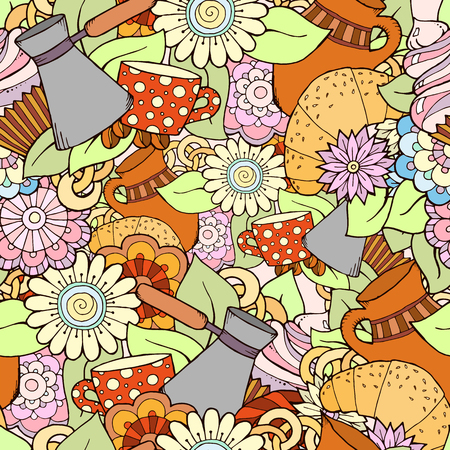 wallpaper doodle: Seamless tea and coffee doodle pattern with paisley and flowers. Ethnic zentangle pattern template can be used for menu, wallpaper, pattern fills. Hand Drawn. Colorful pattern.