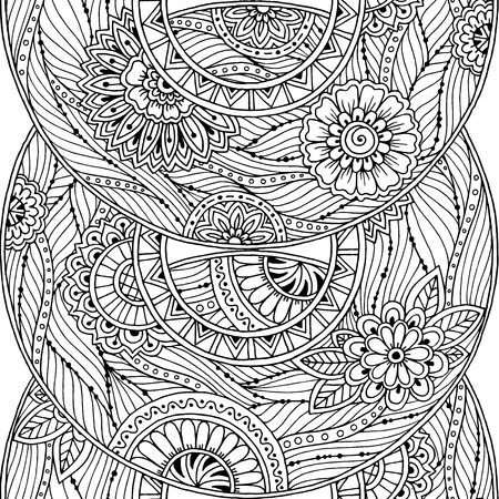 wallpaper doodle: Doodle seamless background in vector with doodles, flowers and paisley. Vector ethnic pattern can be used for wallpaper, pattern fills, covers and books. Black and white.