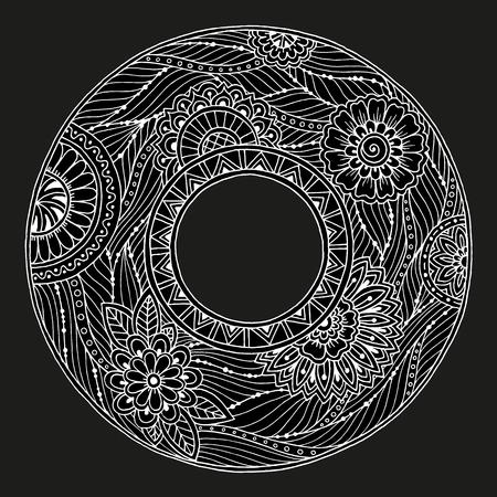 portadas libros: Mandala tema. patrón de la corona de flores con puntos, líneas y flores. ornamento de la flor del círculo blanco y negro. Mandala floral. patrón de tinta dibujado a mano por traza desde el boceto personal. Vectores