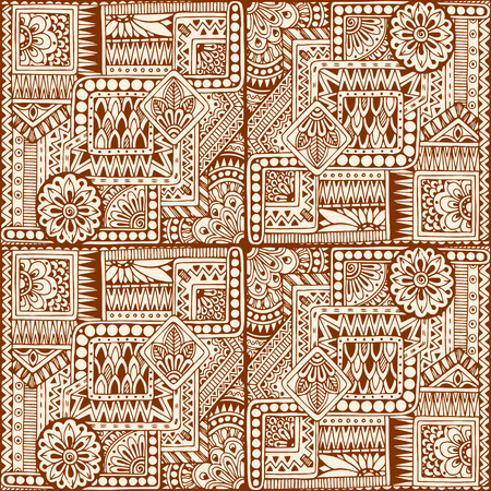 fabric textures: Ornamental ethnic black and white pattern with heart. Tribal background can be used for wallpaper, pattern fills, textile, fabric, wrapping, surface textures, coloring book for adults and kids. Illustration