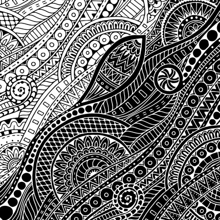 aztec art: Ornamental ethnic black and white pattern. Floral background can be used for wallpaper, pattern fills, textile, fabric, wrapping, surface textures, coloring book for adults and kids.