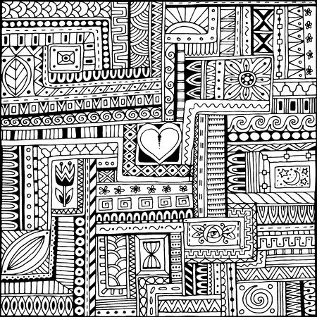 Ornamental ethnic black and white pattern with heart. Tribal background can be used for wallpaper, pattern fills, textile, fabric, wrapping, surface textures, coloring book for adults and kids. Ilustrace