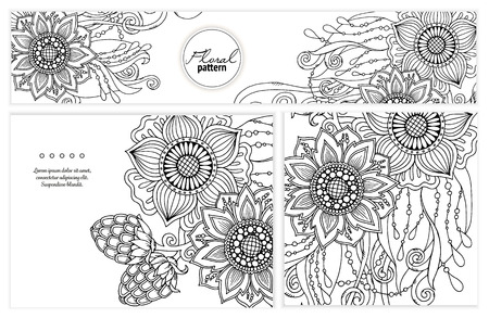 printed media: Set of floral card. Hand drawn artwork with abstract flowers. Background for web, printed media design. Mehendi henna doodle style. Banner, business card, flyer, invitation, greeting card, postcard.