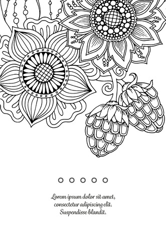 Floral card. Hand drawn artwork with abstract flowers. Background for web, printed media design. Mehendi henna doodle style. Banner, business card, flyer, invitation, greeting card, postcard.