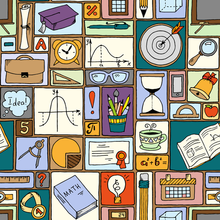 Science math theme. School vector background. Doodle style seamless pattern. Back to school. Geometry objects and figures, pencils, compasses, rulers, lines.