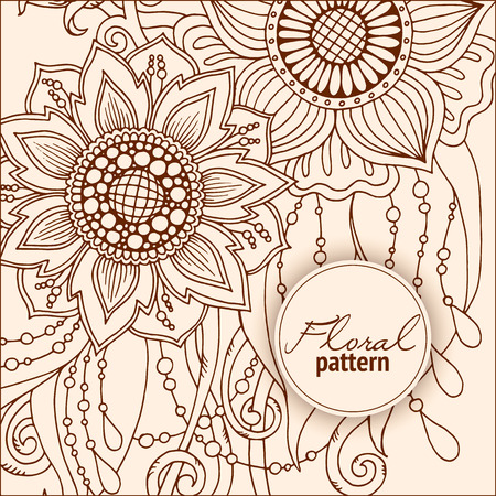 printed media: Floral card. Hand drawn artwork with abstract flowers. Background for web, printed media design. Mehendi henna doodle style. Banner, business card, flyer, invitation, greeting card, postcard.