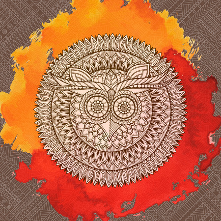 Birds mandala theme. Owl white mandala with abstract ethnic aztec ornament pattern on colorful watercolor background. Owl banner. Entangle inspired. Stylized ethnic Owl.