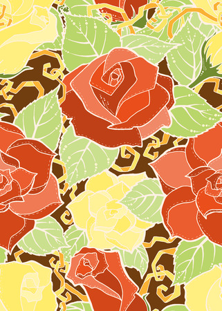 Seamless colorful summer pattern with stylized roses. Ornate seamless texture, pattern with abstract flowers. Floral pattern can be used for wallpaper, pattern fills, web page background.