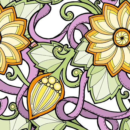 fillings: Seamless colorful summer pattern with stylized flowers. Ornate seamless texture, pattern with abstract flowers. Floral pattern can be used for wallpaper, pattern fills, web page background. Illustration