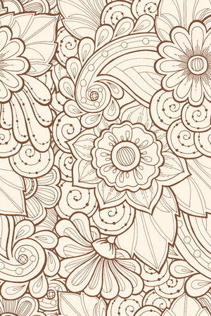 fillings: Seamless grunge pattern with stylized flowers. Ornate seamless texture, pattern with abstract flowers. Floral pattern can be used for wallpaper, pattern fills, web page background.