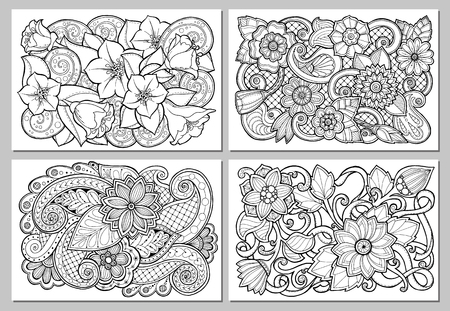 mendi: Set of floral card. Hand drawn artwork with abstract flowers. Background for web, printed media design. Mehendi henna doodle style. Banner, business card, flyer, invitation, greeting card, postcard.