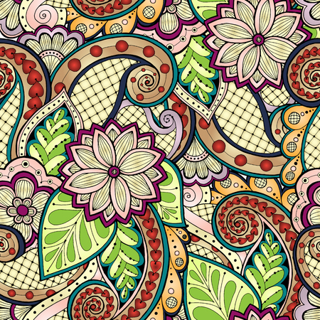 Doodle seamless background in vector with doodles, flowers and paisley. Vector ethnic pattern can be used for wallpaper, pattern fills. Ilustração