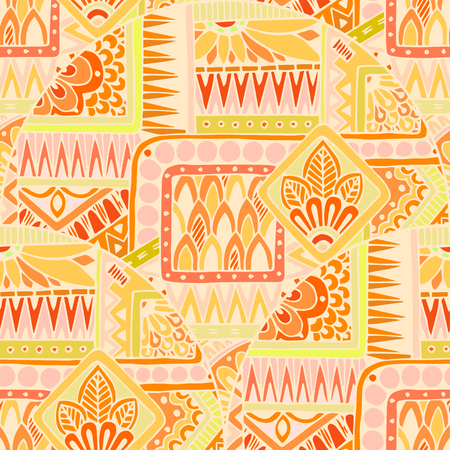 Seamless asian ethnic floral retro doodle background pattern in vector. Henna paisley mehndi doodles design tribal pattern