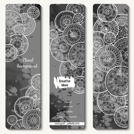 Abstract vector hand drawn doodle floral pattern card set. Series of image Template frame design for card Illustration