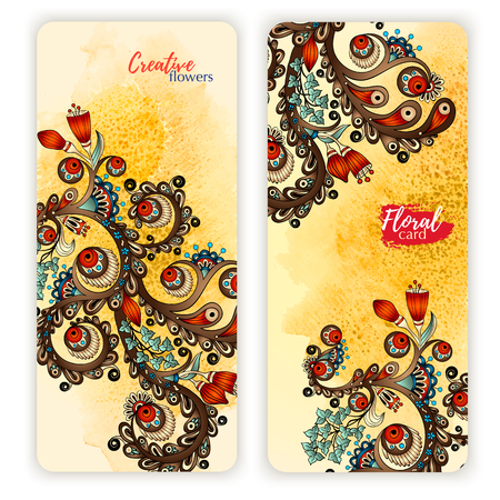 indonesia: Set of vector template banners with watercolor paint abstract background and doodle hand drawn flowers. Series of image Template frame design for card. Illustration