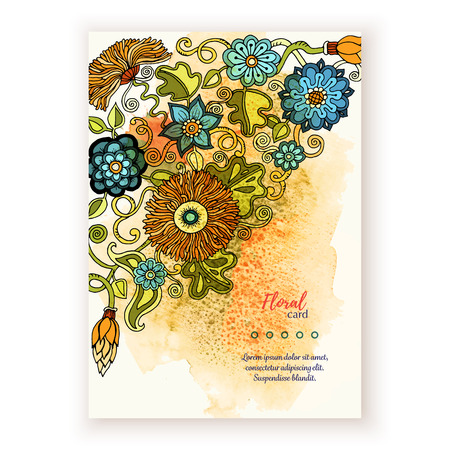mother earth: Vector template corporate identity. Business artworks with watercolor splash. Background for web, printed media design. Banner, business card, flyer, invitation, greeting card, postcard.
