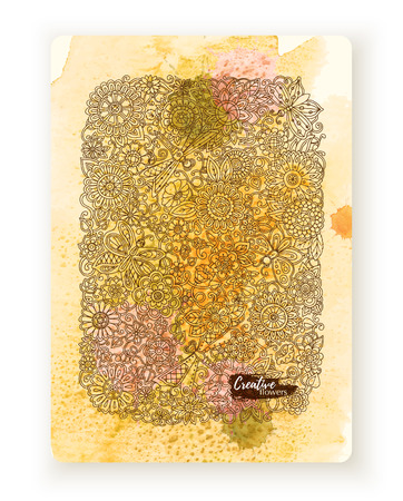 etnic: Greeting card with flowers. Hand painting artwork with watercolor splash. Background for web, printed media design. Banner, business card, flyer, invitation, postcard.