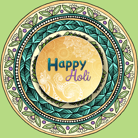 happy web: Vector template poster. Indian festival Happy Holi celebrations with hand drawn mandalas background.  For web, printed media design. Banner, business card, flyer, invitation, greeting card, postcard.