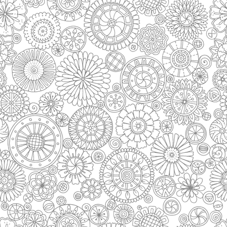 black circle: Ethnic floral mandalas, doodle background circles in vector. Seamless pattern. Black and white pattern for coloring book for adults and kids.