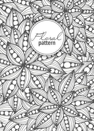 abstract flowers: Floral card. Hand drawn artwork with abstract flowers. Background for web, printed media design. Mehendi henna tattoo doodle style. Banner, business card, flyer, invitation, greeting card, postcard.