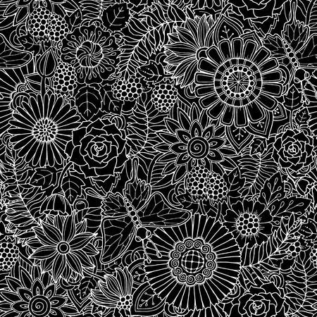 Seamless black and white ethnic floral retro doodle background pattern in vector. Henna paisley mehndi doodle design tribal pattern. Abstract pattern with circles, waves, triangles, geometrical shapes
