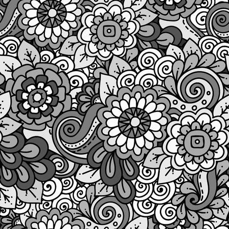 wallpaper doodle: Doodle background in vector with doodles, flowers and paisley. Seamless vector ethnic pattern can be used for wallpaper, pattern fills, cover. Monochrome.