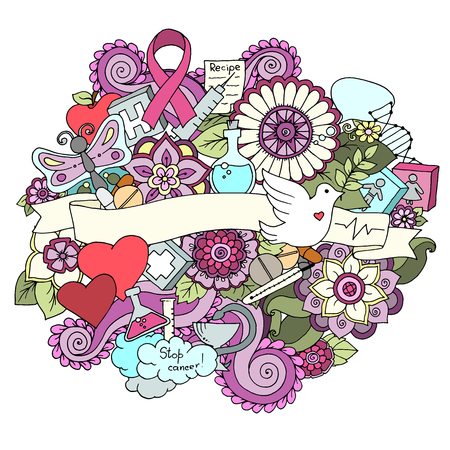 Global collaboration breast cancer awareness month colorful doodle illustration. Medical Background with ribbon, dove, women and men icons, heart, abstract breast, medicine bottle and pills.