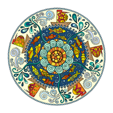Ethnic colorful mandalas with decorative ornament, doodle fishes, waves, wind and fairytale ships. Black and white, colorful versions. Pattern can be used for wallpaper, pattern fills, coloring books. Illustration