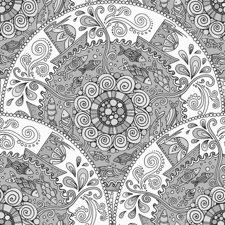 Seamless monochrome pattern. Ethnic mandala background with decorative ornament, doodle fishes, waves, wind and ships.