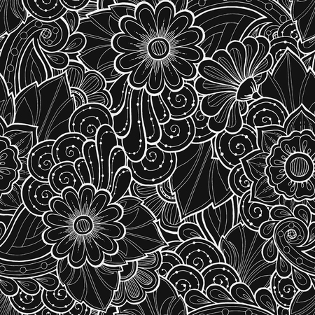 floral border: Doodle seamless background in vector with doodles, flowers and paisley. Vector ethnic pattern can be used for wallpaper, pattern fills, coloring books and pages for kids and adults. Black and white.