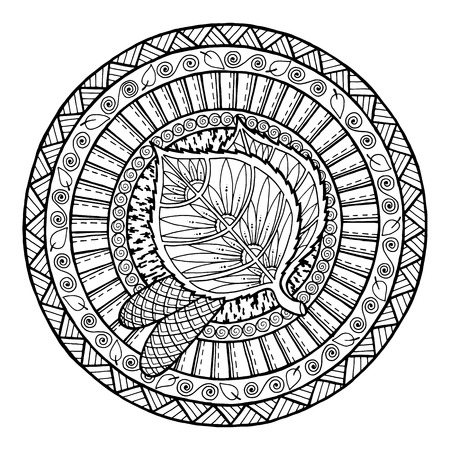 autumn colouring: Autumn theme. Circle tribal doodle ornament. Hand drawn birch leaf art mandala. Black and white ethnic background. pattern for coloring book for adults and kids. Illustration