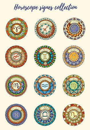 tribal aquarius: Zodiac signs theme. Set of mandalas with libra zodiac signs. inspired mandalas. Hand drawn tribal mandala horoscope symbols for tattoo art, printed media design, stickers, etc. Illustration