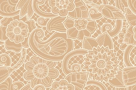 Naadloos sierpatroon met gestileerde met abstracte bloemen en stamper Paisley. Etnisch bloemenontwerpsjabloon kan worden gebruikt voor behang, patroonvullingen, textiel, stof, verpakking, oppervlakte texturen. Stock Illustratie