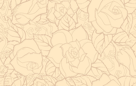 fillings: Seamless ornamental pattern with stylized abstract roses flowers and tribal paisley. Ethnic floral design template can be used for wallpaper, pattern fills, textile, fabric, wrapping, surface textures