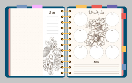 Flat design opened notepad with adult coloring page, notes, weekly and to do list in top view. Sketchbook, coloring book or diary mockup. Vector illustration of birdhouse and flowers. Ilustração
