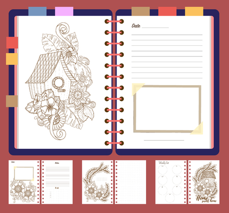 Platte Ontwerp Open Kladblok Met Bookmarks Geisoleerd En Met