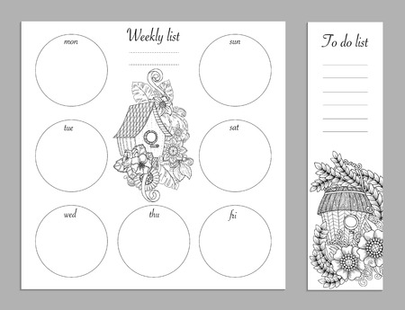 diary background: Weekly list design for notepad isolated on white background with place for text in top view. Sketchbook, diary mockup. Vector illustration. Coloring page for adults and kids. Illustration