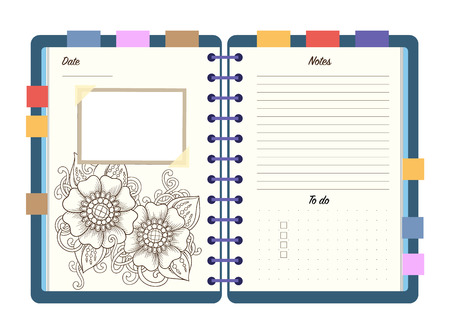 whit: Flat design opened notepad with bookmarks and isolated on white background whit place for text in top view. Sketchbook, diary mockup. Vector illustration.