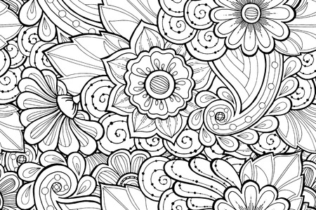 fillings: Seamless ornamental black and white pattern with stylized abstract flowers. Ethnic floral design template can be used for wallpaper, pattern fills, textile, fabric, wrapping, surface textures