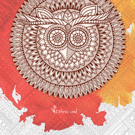 Birds mandala theme. Owl white mandala with abstract ethnic aztec ornament pattern on colorful watercolor background. Owl banner. Owl tattoo. hand draw inspired. Stylized ethnic Owl. Illustration