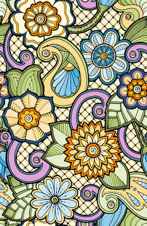 fillings: Seamless ornamental colorful pattern with stylized abstract flowers. Ethnic floral design template can be used for wallpaper, pattern fills, textile, fabric, wrapping, surface textures