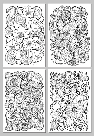 Greeting cards with abstract flowers. Pages for adult coloring book. Vintage hand drawn design for greeting card, wedding invitation, poster, scrapbook. Vector illustration.