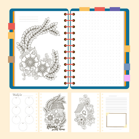 weekly planner: Flat design opened notepad with bookmarks and isolated on white background whit place for text in top view. Sketchbook, diary mockup. Vector illustration.