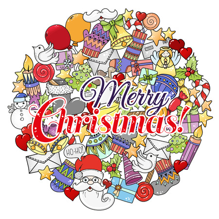 Merry christmas set of xmas colorful pattern and text templates. Ideal for holiday greeting cards, print, coloring book page or wrapping paper. Ilustrace